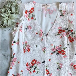 Rebecca Taylor Marguerite Floral Ruffle Tank Top